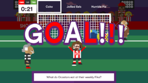 """Screenshot of Albert football game asking the question """"What do Ocastars eat at their weekly Fika""""?"""