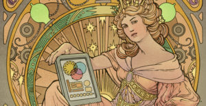 Comic book drawn woman presenting a tablet with a steampunk themed background
