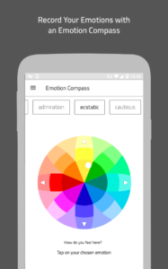Simulated smartphone showing a Locate app's Emotion Compass