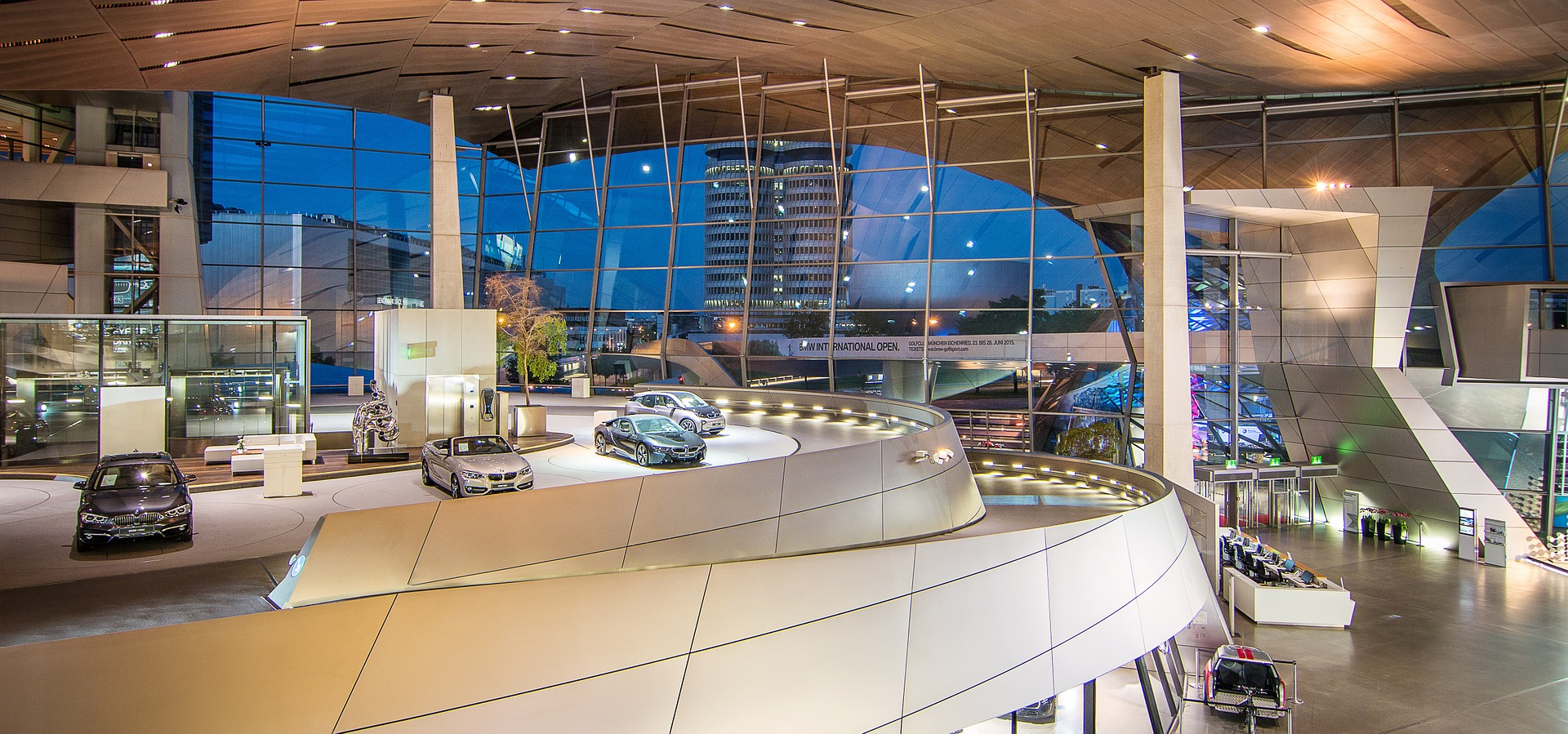 Landscape shot of BMW's museum showroom in Munich, Germany.