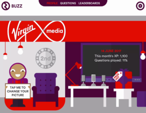 Screenshot of the Virgin Media app Albert portraying a lab next to a lounge area with a prize pot and play statistics