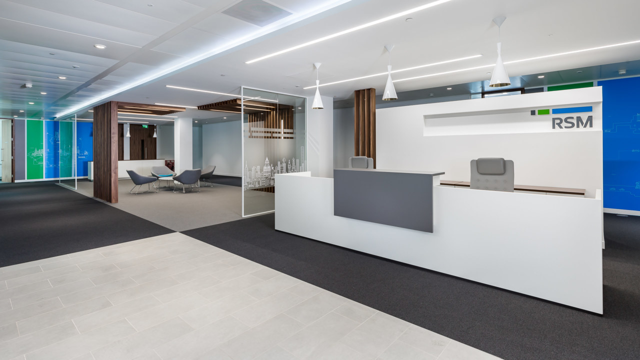 Reception design for financial firm RSM in Leeds