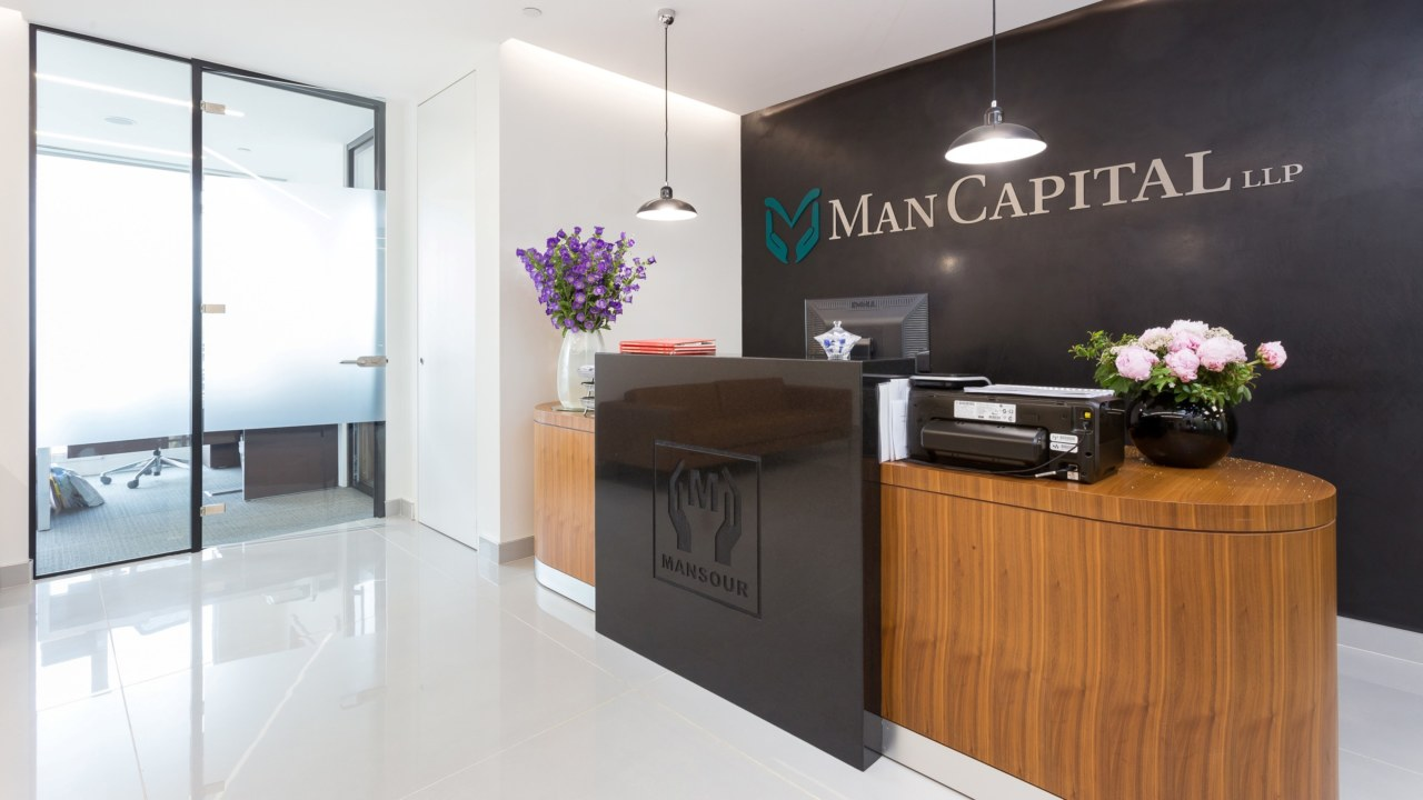 Office reception design for Man Capital