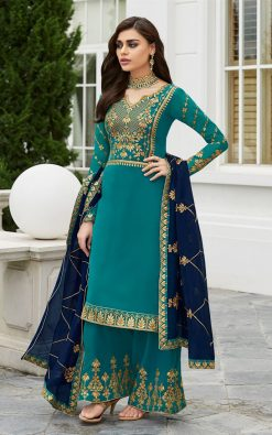 Turquoise Palazzo Suit With Contrast Dupatta