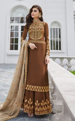 Brown Embroidered Palazzo Suit With Contrast Dupatta