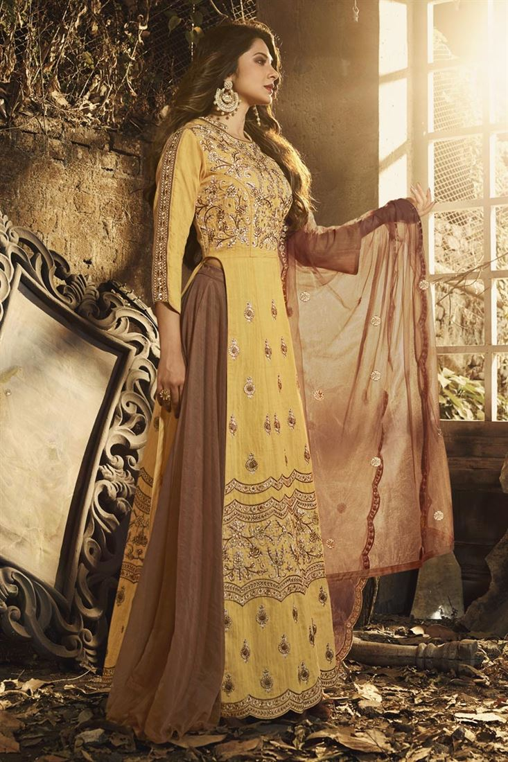 Jennifer Winget Yellow Art Silk Lehenga Style Anarkali ...