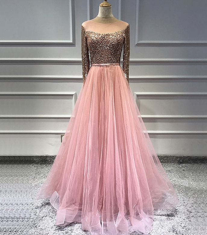 Rose Gold Sequinned Evening Dress Evening Dresses Made To Order Party Wear Designer Collection