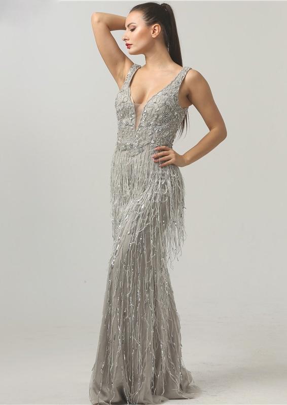 Sheer Grey Sequin Luxury Long Evening Gown | Indian Designer ...