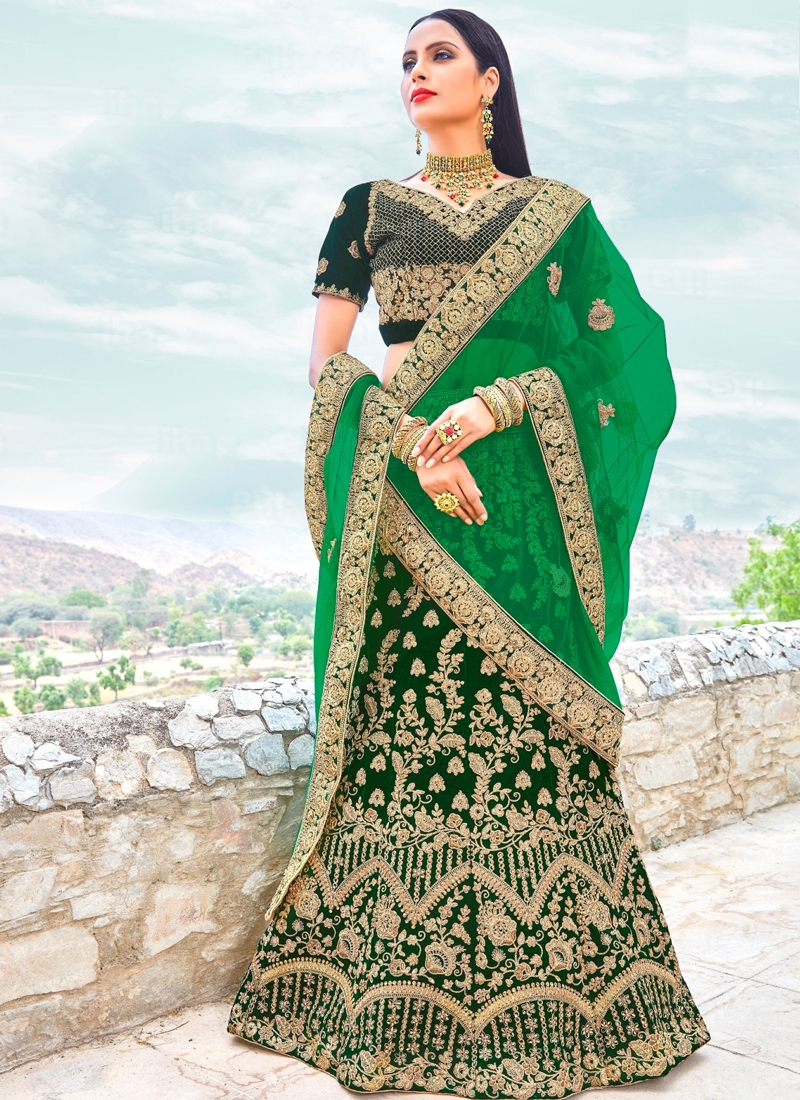Green Micro Velvet Lehenga Choli Lehengas Designer Collection