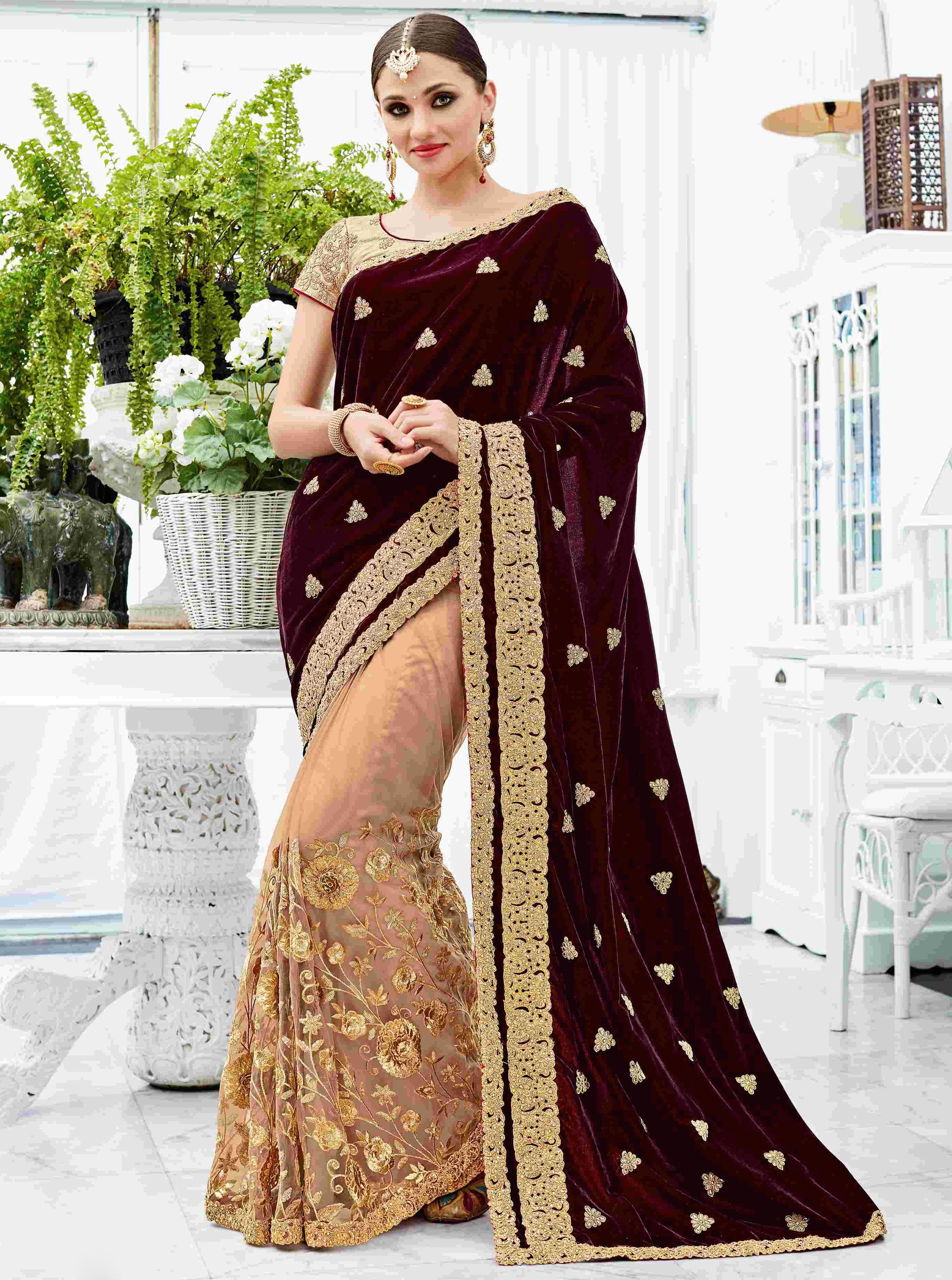 Wine Velvet On Net Designer Saree Ready To Ship Sarees Designer Collection