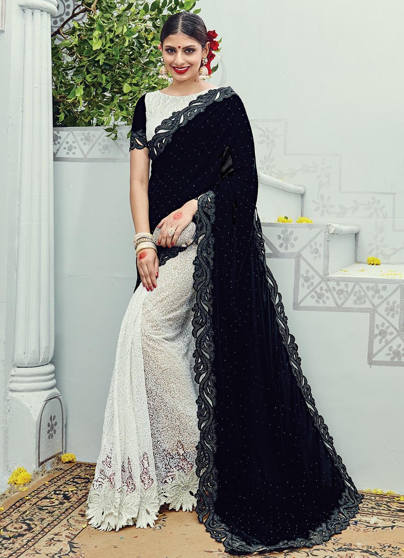 Black White Net On Velvet Saree Sarees Designer Collection