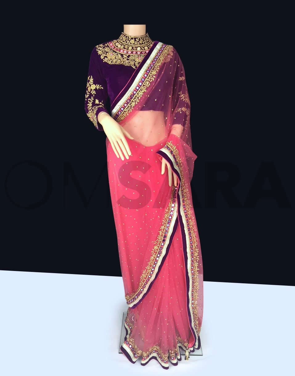 Pink Net Saree With Readymade Velvet Blouse Ready To Ship Readymade Outfits Sale Sarees Designer Collection