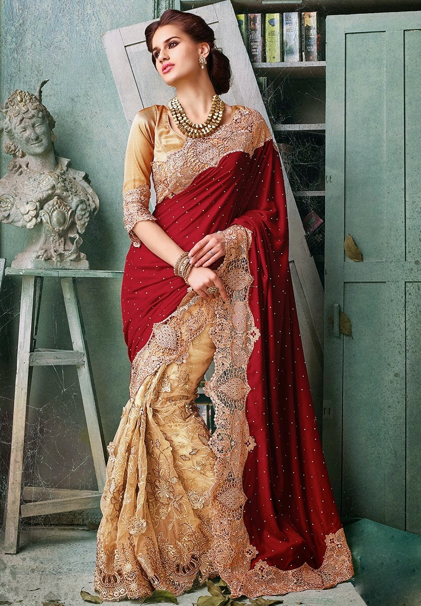 Heavy Bridal Maroon And Peach Net On Velvet Saree With Gota Blouse Sarees Designer Collection
