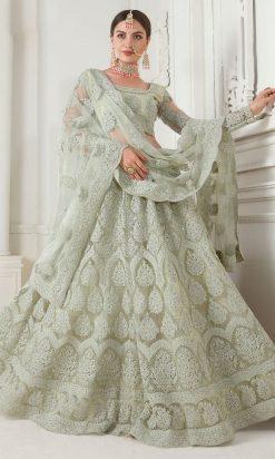 Mint Green Net With Satin Silk Embroidered Lehenga Choli