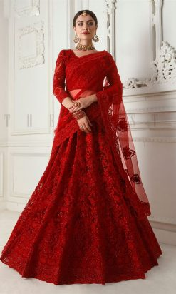 Red Net With Satin Silk Embroidered Lehenga Choli