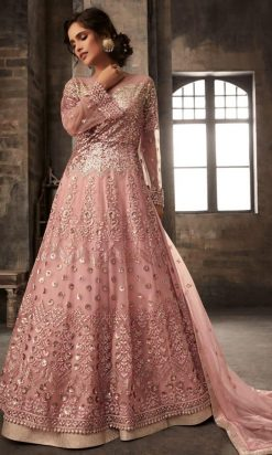 Light Peach Pink Net Long Anarkali Lehenga Choli