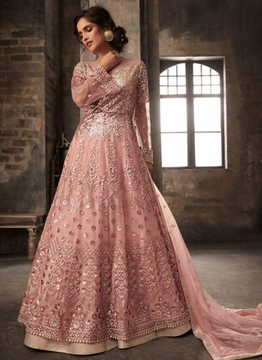 Light Peach Pink Net Long Anarkali Lehenga Choli