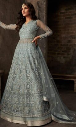 Light Grey Net Long Anarkali Lehenga Choli