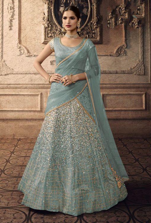 Baby Blue Designer Cinderella Lehenga Choli