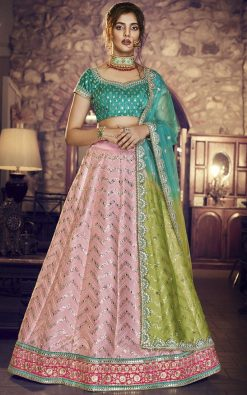 Light Green Handloom Silk Lehenga Choli