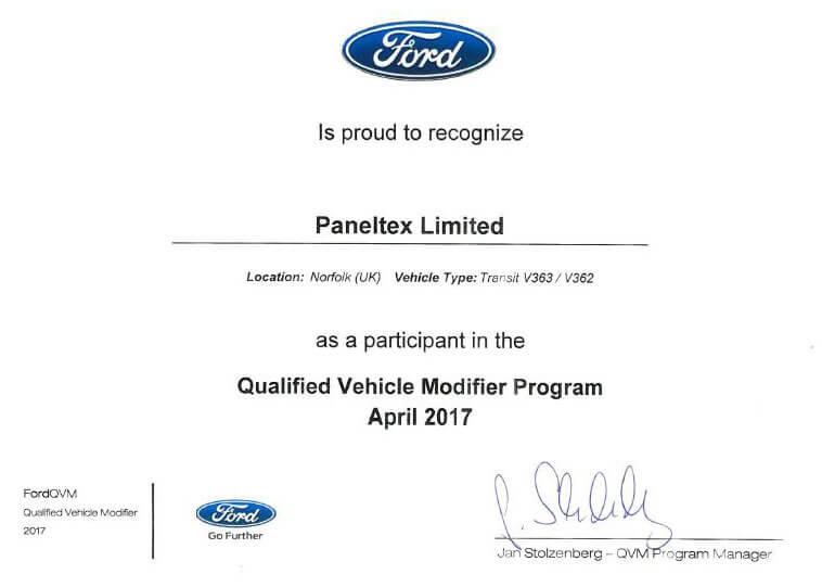 Paneltex: Ford Qualified Vehicle Modifier