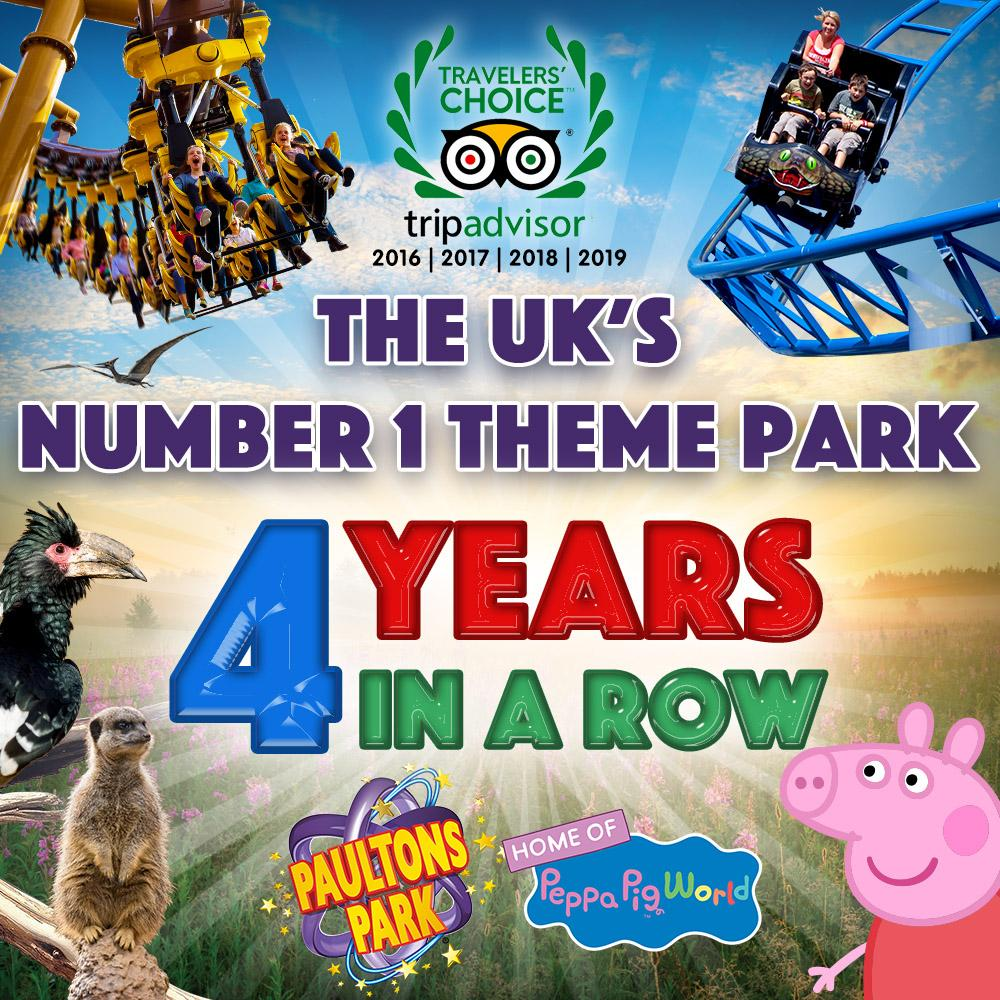 PAULTONS PARK IS NAMED THE UK'S NUMBER ONE AMUSEMENT PARK FOR FOURTH YEAR RUNNING