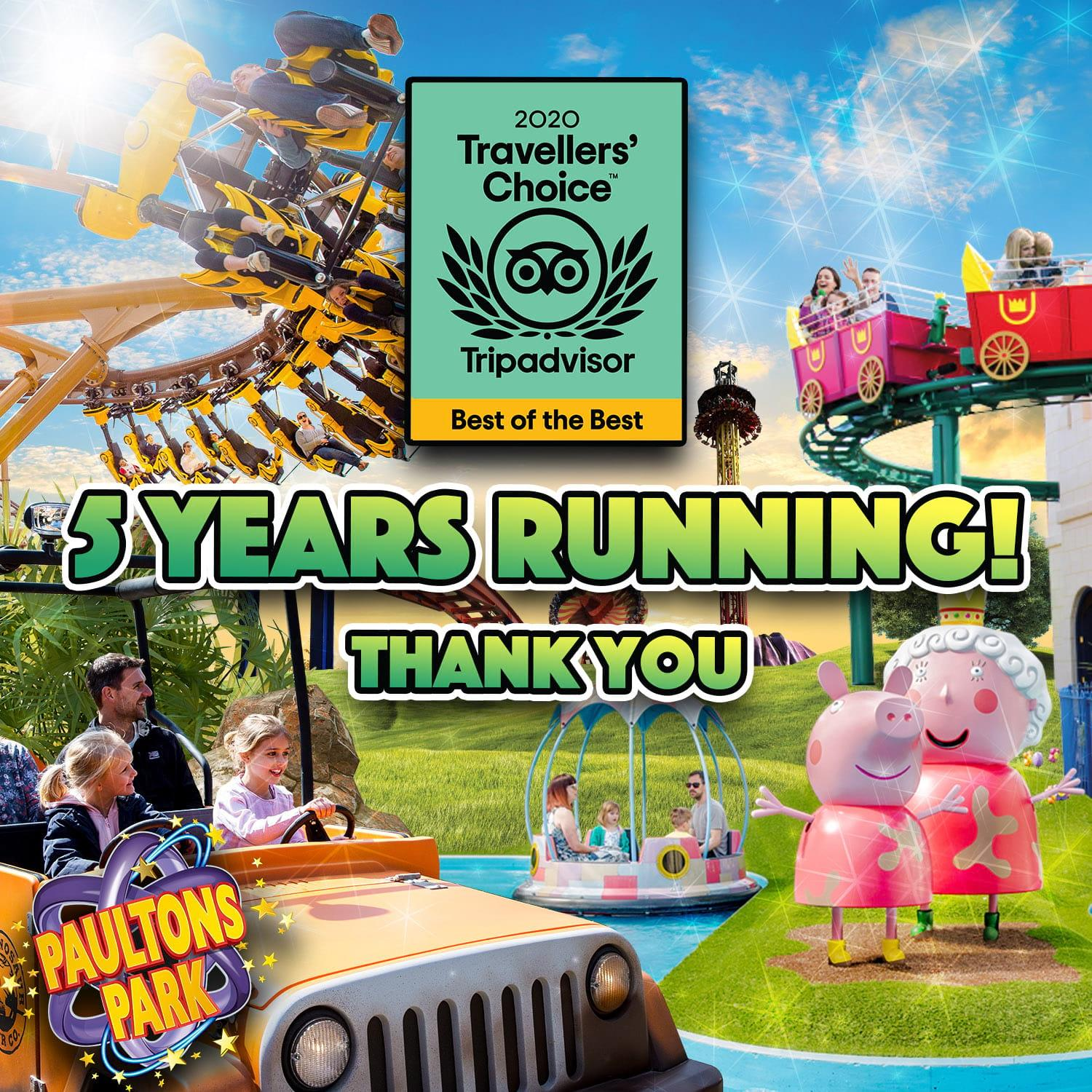 PAULTONS PARK NAMED ONE OF THE WORLD'S TOP TEN AMUSEMENT PARKS IN 2020 TRAVELLERS CHOICE AWARDS