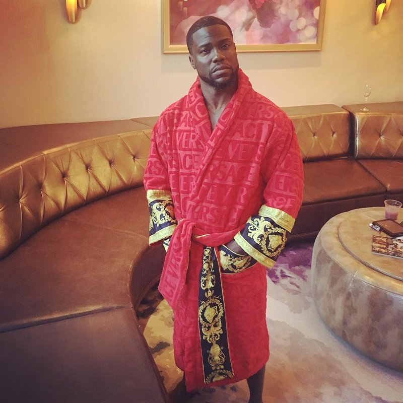 Spotted: Kevin Hart in Versace Bathrobe