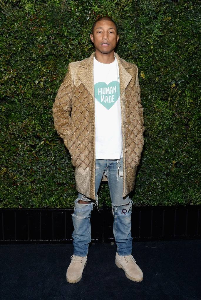 SPOTTED: Pharrell Williams At Pre-Oscar Dinner In Chanel Pre-Fall 2017 Coat And Timberland Boots
