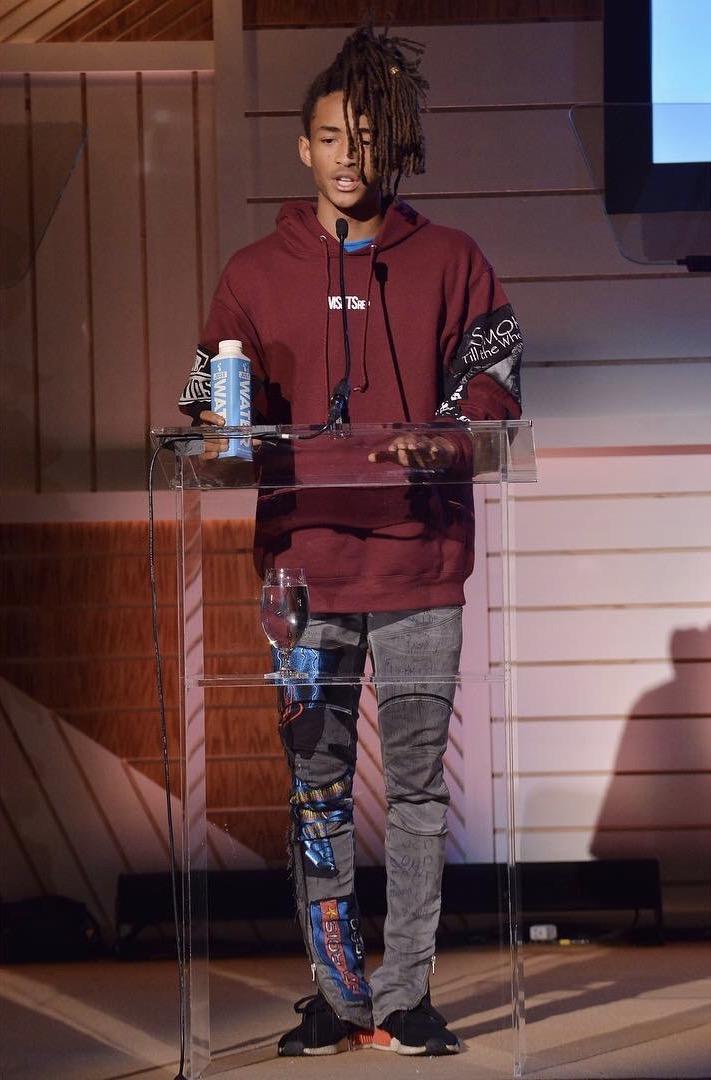 SPOTTED: Jaden Smith In MSFTSrep Custom Hoodie, Jeans and Adidas NMD Sneakers