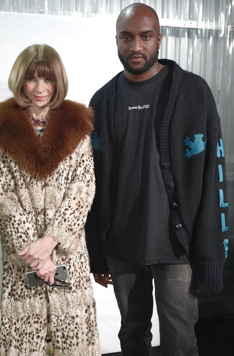 SPOTTED: Virgil Abloh In Yeezy Season Cardigan With Anna Wintour At PFW