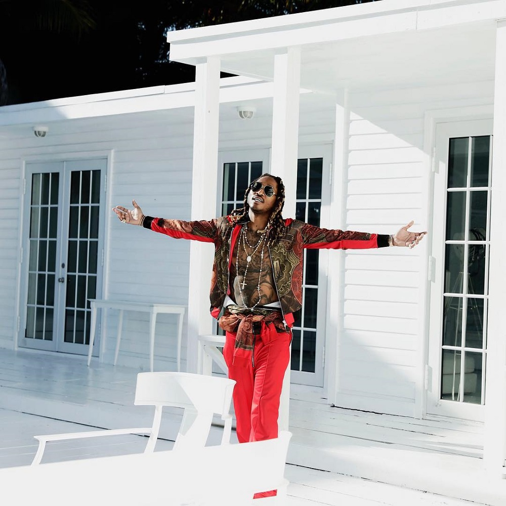 Future in Givenchy Money Print Jacket and Chanel Necklace
