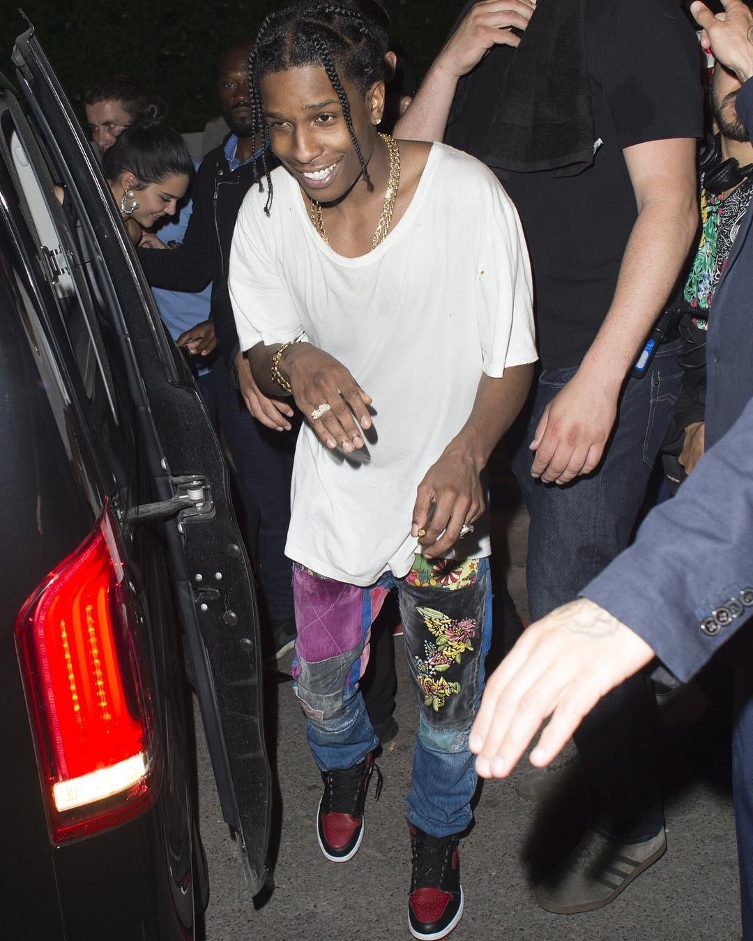 SPOTTED: A$AP Rocky in Gucci and Kapital Jeans