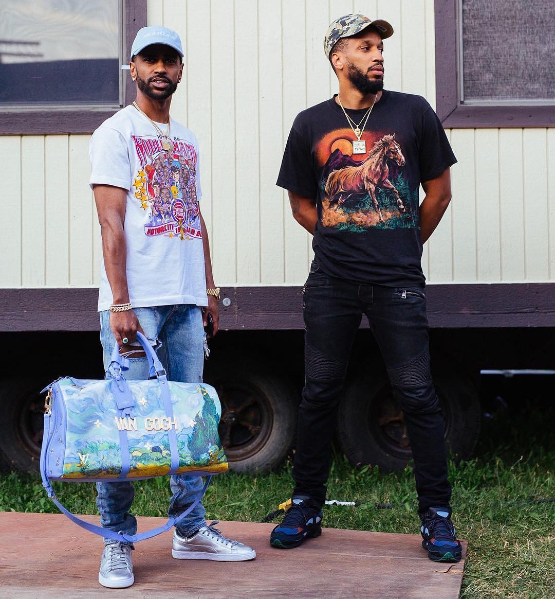 Big Sean spotted with Louis Vuitton x Jeff Koons bag