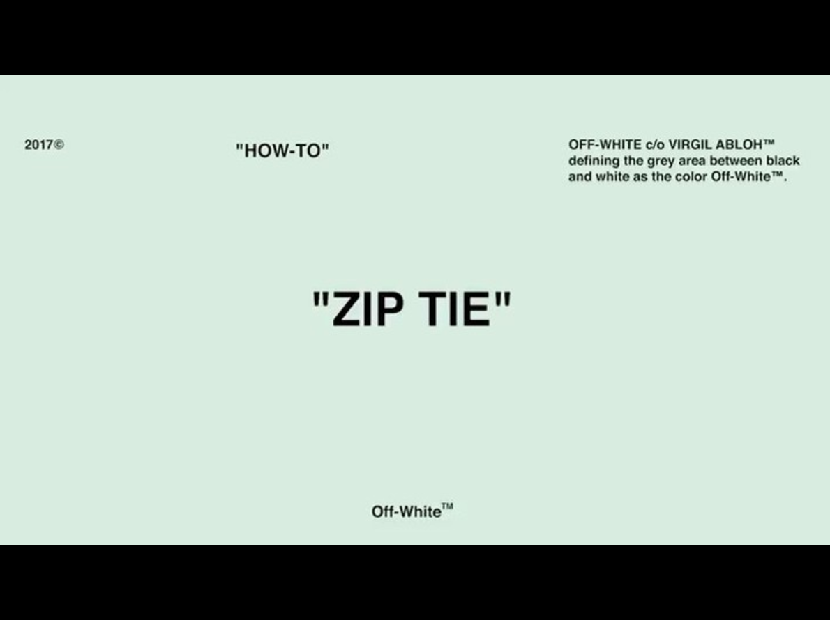 "Off-White Share The ""Zip Tie How-To"" On Instagram"