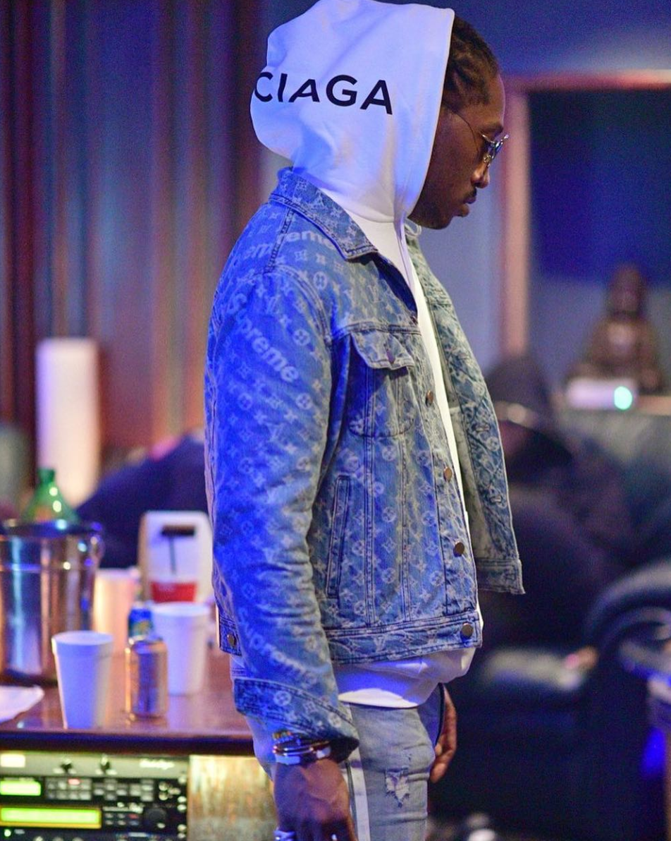 SPOTTED: Future In Supreme x Louis Vuitton Denim Jacket + Balenciaga Hoodie