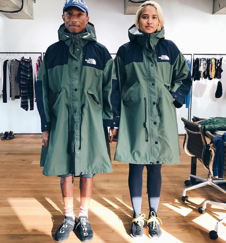 SPOTTED: Pharrell Williams And Helen Lasichanh In Sacai x The North Face Parka And Pharrell Williams x adidas NMD Human Race Sneakers