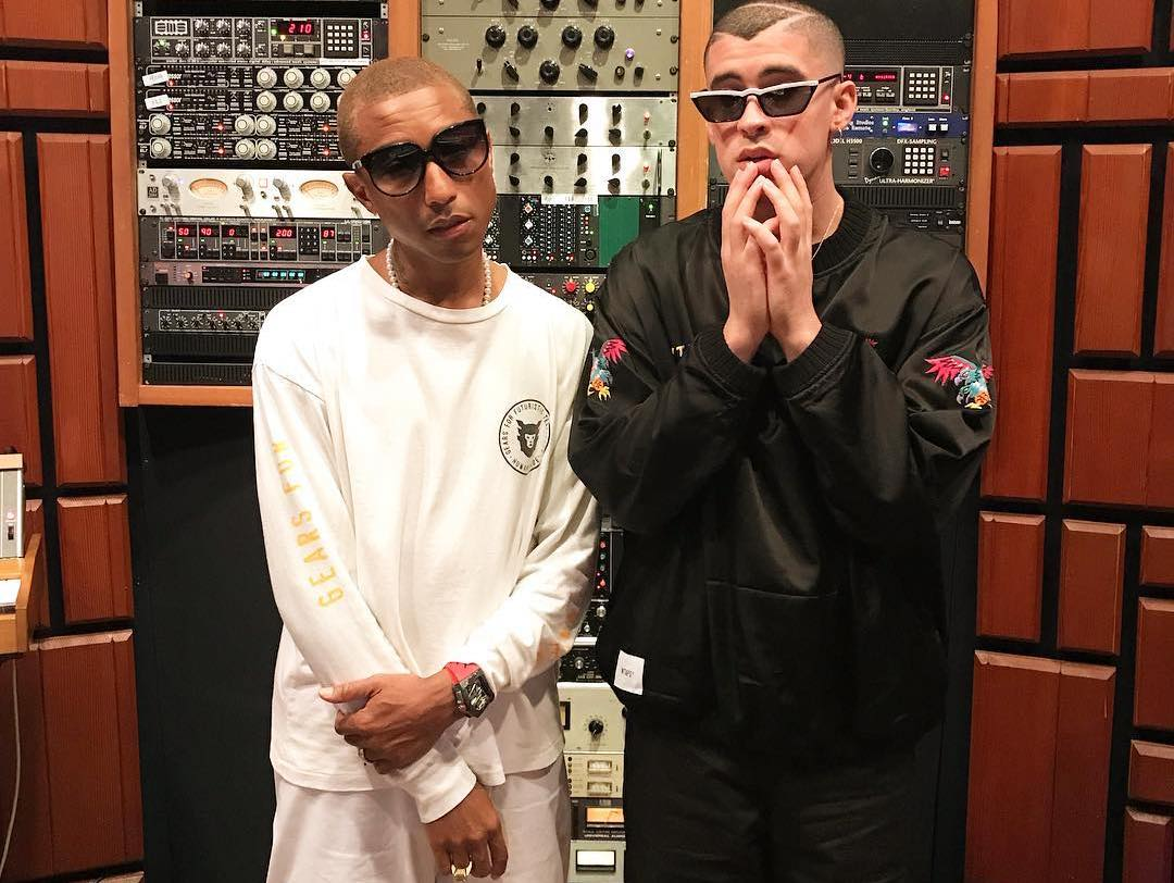 SPOTTED: Pharrell Rocks Human Made in Studio with Bad Bunny
