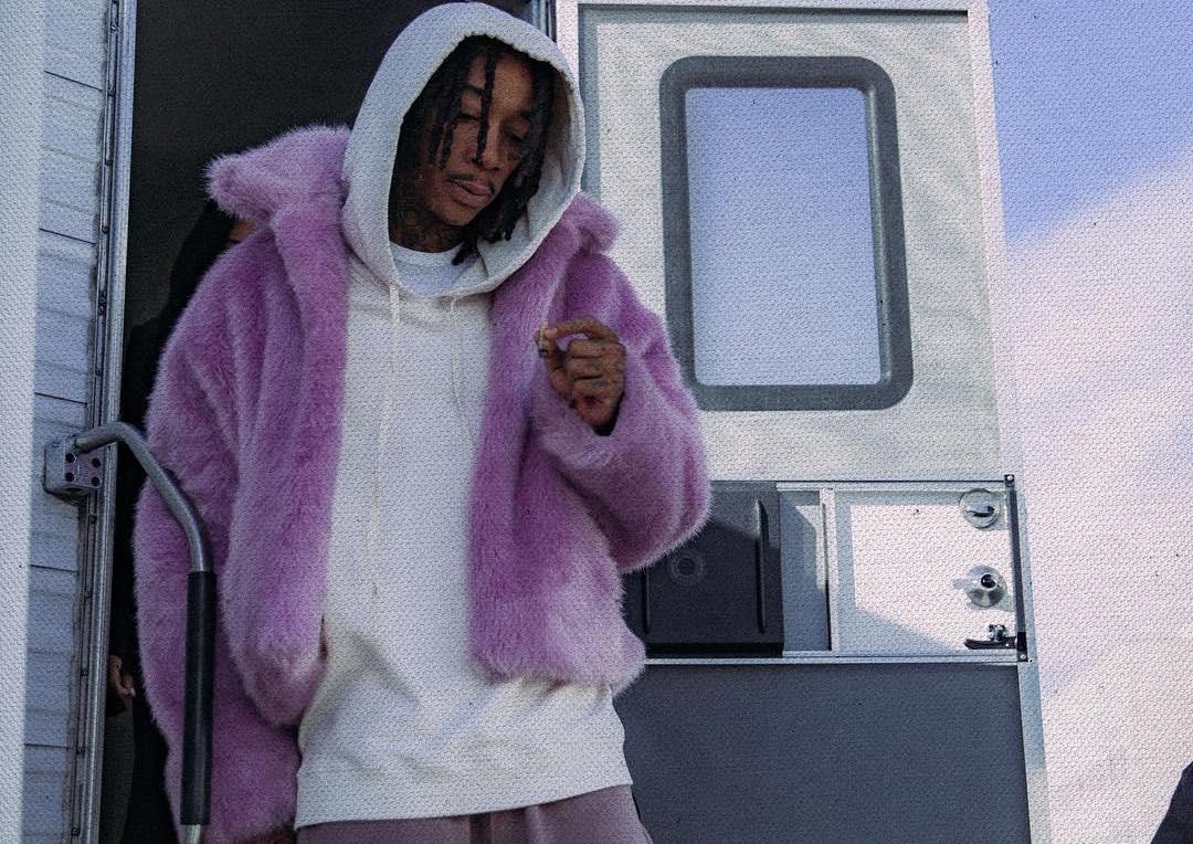 SPOTTED: Wiz Khalifa Steps Out in Purple Fur Coat