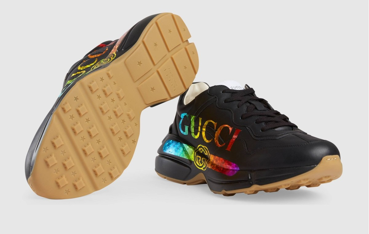 Shop Gucci's Latest Eye-Catching Branded Rhyton Leather Sneaker