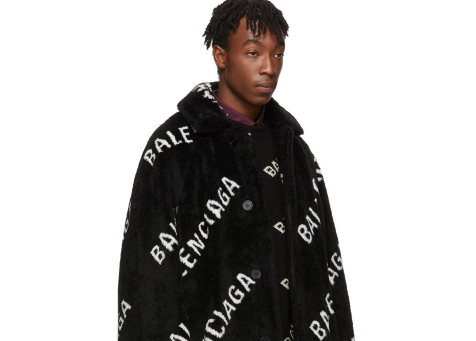 PAUSE or Skip: Balenciaga Faux Fur Logo Coat