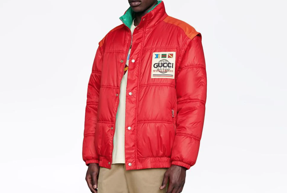 PAUSE or Skip: Red Gucci Patch Padded Coat