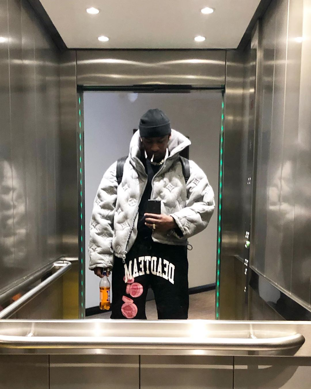 SPOTTED: Skepta Takes the Elevator in Louis Vuitton AW19′ Puffer Jacket