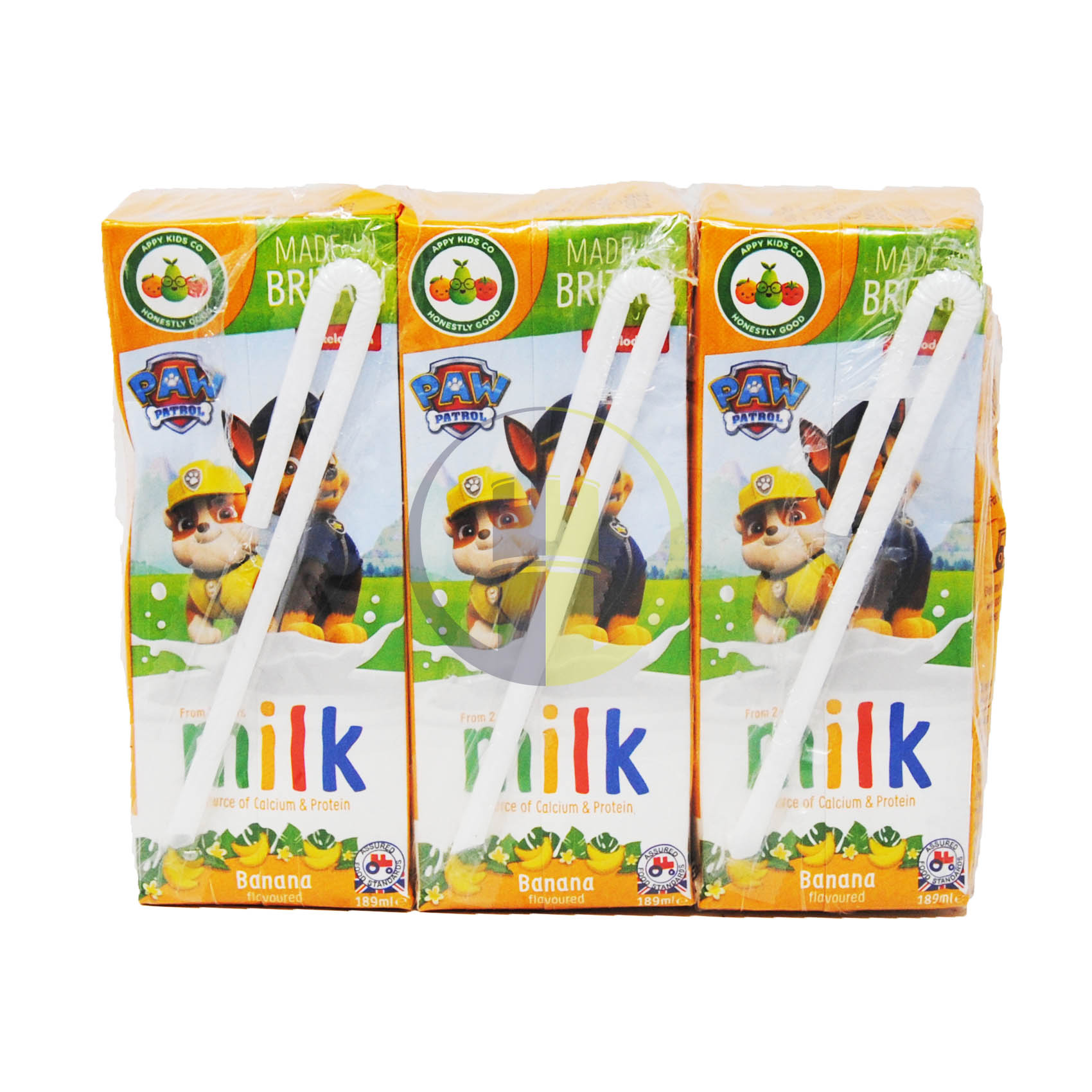 Appy Kids Paw Patrol British Banana Flavoured Milk 3x189ml