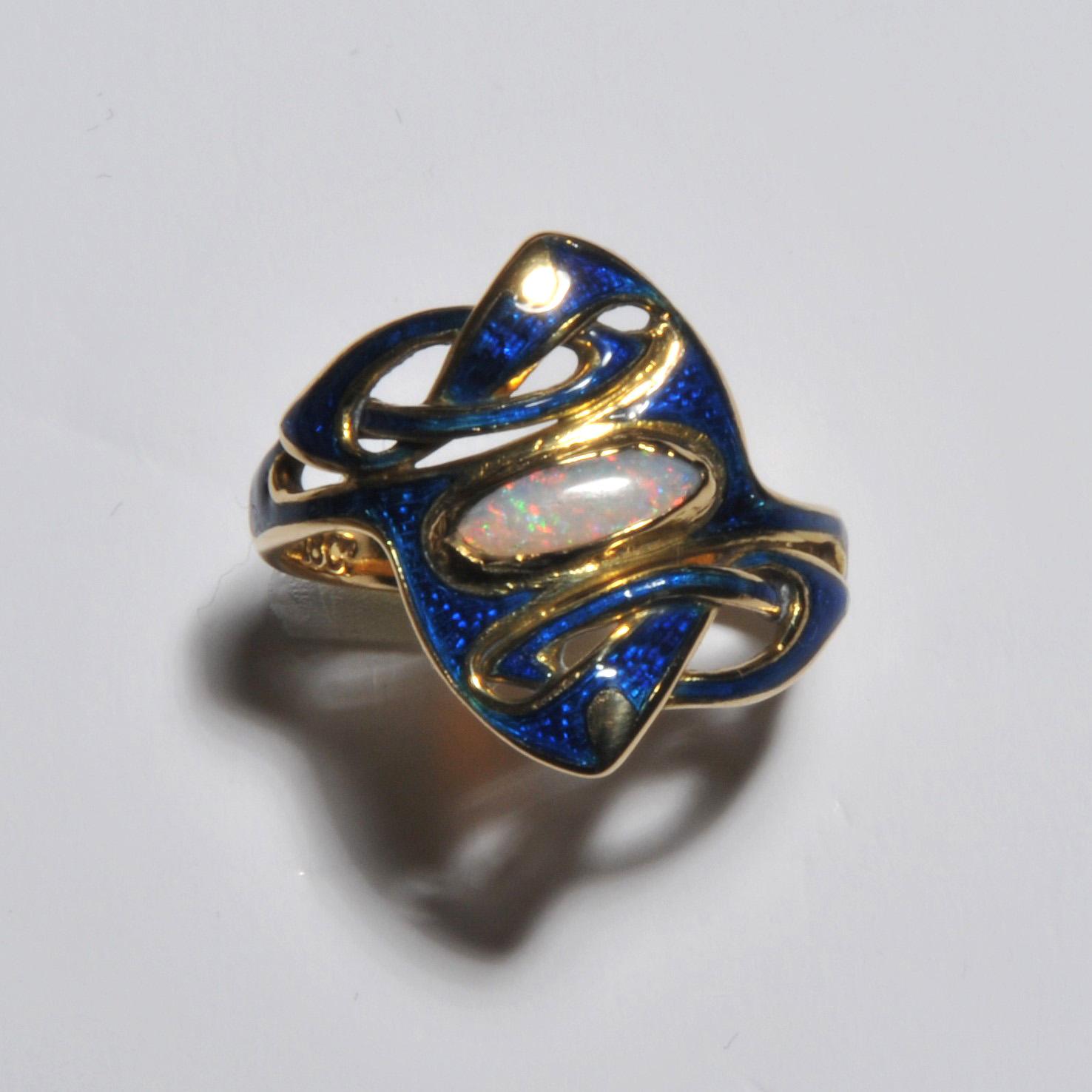 Archibald Knox Liberty gold enamel ring