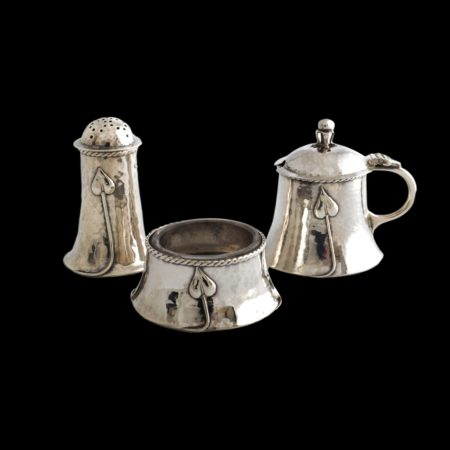 A E Jones silver leaf condiment set