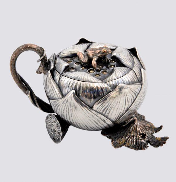 Japanese silver lotus mustard pot