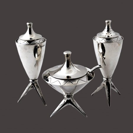 Modernist silver condiment set by Vander