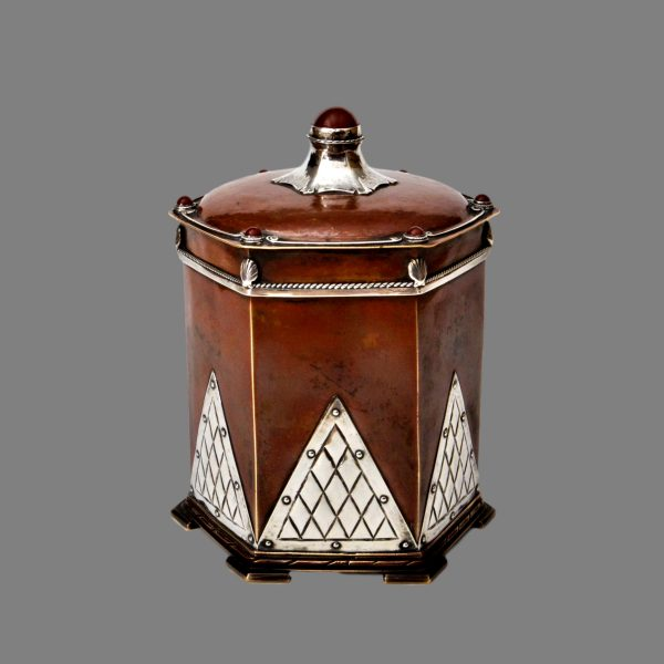 Arts crafts silver copper tea caddy