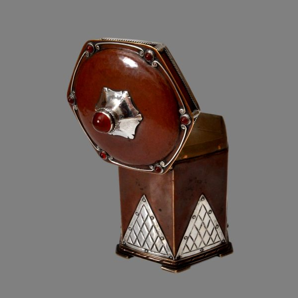 Arts crafts silver copper tea caddy